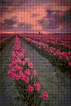 Spring Tulips at Sunset landscape Cross Stitch pattern PDF - EASY chart with one color per sheet And traditional chart! Two charts in one! by HeritageChart on Etsy