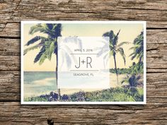 Modern Beach Save the Date Postcard // Destination Wedding Save the Date Tropical Save the Date Palm Tree Postcard Mexico Florida California by factorymade on Etsy https://www.etsy.com/listing/219747642/modern-beach-save-the-date-postcard