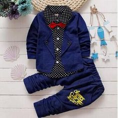 2017 Boys Spring Two Fake Clothing Sets Kids Boys Button Letter Bow Suit Sets Children Jacket + Pants 2 Pcs Clothing Set Baby Toddler Boy Outfits, Baby Outfits Newborn, Kids Outfits, Casual Outfits, Baby Set, Fashion Kids, Wholesale Baby Clothes, Baby Boy Clothing Sets, Children Clothing