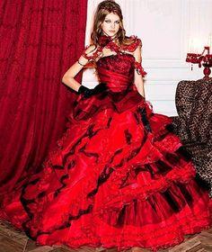 Red Wedding Dress #redweddingdress www.weddingdressfantasy.com