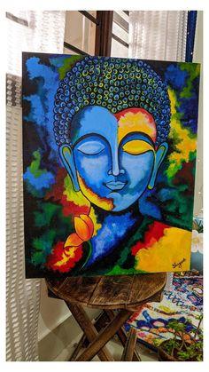 Budha Painting, Mandala Painting, Mughal Paintings, Indian Art Paintings, Buddha Artwork, Arte Indie, Abstract Face Art, Oil Pastel Paintings, Canvas Painting Tutorials