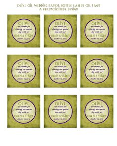 olive oil favor tags or stickers DIY printable by persnickitude, $8.00