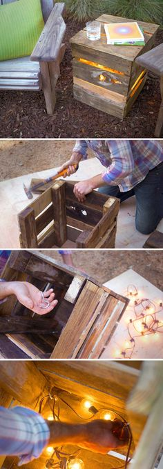 DIY Outdoor Pallet Light Boxes