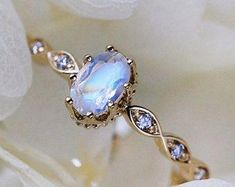 Gold Moonstone Ring Moonstone Engagement Ring Moonstone Proposal Ring Moonstone Solitaire Ring Gold Ring Four Prong Moonstone Wedding Rings Solitaire, Wedding Rings Vintage, Diamond Wedding Rings, Bridal Rings, Vintage Engagement Rings, Vintage Rings, Wedding Jewelry, Diamond Rings, Solitaire Diamond