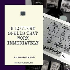 6 Lottery Spells that Work Immediately [Free Money Spells & Rituals] - - In this article, I'll cover 6 Powerful Lottery Spells and Rituals that will help you win more money. Some of them work immediately. Check them out! Good Luck Spells, Easy Spells, Magic Spells, Love Spells, Powerful Money Spells, Money Spells That Work, Spells That Really Work, Wiccan Spells Money, Witchcraft Spells
