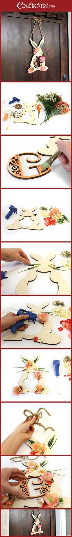 Easter Wreath | Spring Wreath | Bunny Monogram Wreath | CraftCuts.com