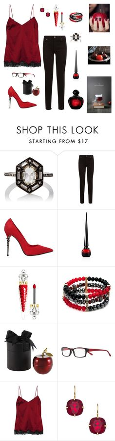 """""""Evil Queen"""" by runsonblackcoffee on Polyvore featuring Cathy Waterman, 7 For All Mankind, Le Silla, Christian Louboutin, New Directions, D.L. & Co., Magnif Eyes, STELLA McCARTNEY, Liz Palacios and Christian Dior"""