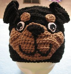 Rottweiler Hand Made Crochet Hat with Free by DonnasCrochetDesigns, $25.00