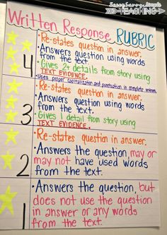 Use Written Response Rubrics for all subject areas! Implement rubrics in your writing station, small groups and whole groups! Model, model, model during mini-lessons. Use rubrics for a conference with students or as a peer conference! Writing Lessons, Teaching Writing, Student Teaching, Writing Activities, College Teaching, Writing Rubrics, Paragraph Writing, Informational Writing, Opinion Writing
