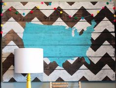 Wall map of the US — great wall art | Creative Ways to Repurpose Pallets