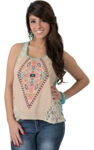 Flying Tomato® Women's Cream Lace with Aztec Embroidery Fashion Tank Top | Cavender's