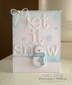Lawn Fawn - Making Frosty Friends + coordinating dies, Stitched Rectangle Stackables, Stitched Hillside Borders, Louie's ABCs, Silver Sparkle Lawn Trimmings _ cute snowman card by Audrey for Have A Very Fawny Holiday Week