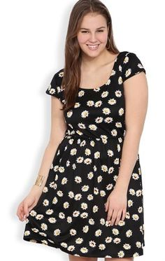 Deb Shops Plus Size Cap Sleeve Skater Dress with Daisy Print and Open Knot Back $42.90