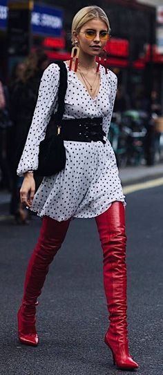 fashionable outfit idea : printed dress + bag + red over knee boots + wide belt