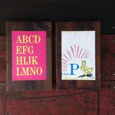 1963 Dr. Seuss, ABC-  Peace by Piece, Reclaimed Wood Children's Book Illustration Wall Art.