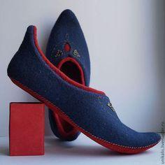 """Валяные тапочки мужские """"Очарование востока"""" - тёмно-синий,красный,валяные тапочки"""