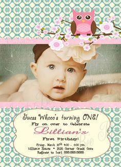 Sweet, shabby, owl, birthday invitation!
