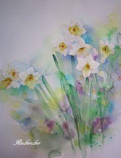 今月のレッスン。。。夢色水彩画~スイセン~♡   アトリエ・ルシェルシェ~花の絵と、もの創り~