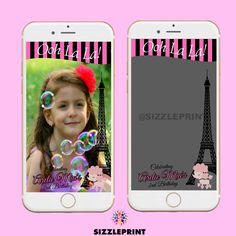 PARIS THEME GEOFILTER  Plus Family & Friends Message | Custom Personalized Snapchat Geofilter | Girl  Birthday Party | Paris Ooh La La Party by SizzlePrint on Etsy
