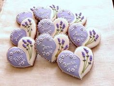 Excelente Items similar to Heart Shaped Bridal Shower Cookies on Etsy Gingerbread hearts decorated with lavend. Fancy Cookies, Iced Cookies, Cute Cookies, Royal Icing Cookies, Cupcake Cookies, Sugar Cookies, Owl Cookies, Valentines Day Cookies, Iced Biscuits
