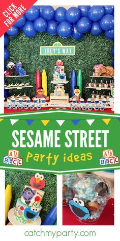 Check out this fun Sesame street birthday party! The cake is a blast! See more parties ideas and share yours at CatchMyParty.com Sesame Street Toys, Sesame Street Party, Sesame Street Birthday, Cookie Party Favors, Cookie Monster Party, Boy Shower, Shower Party, Blue Popcorn, Elmo Cake
