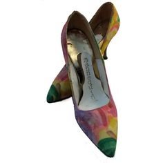 Vintage Floral Fabric Shoes 5B for Wear or Display! from bdazzled on... ❤ liked on Polyvore featuring shoes