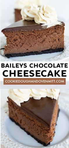 Baileys Chocolate Cheesecake - This Baileys Chocolate Cheesecake packs a punch of booze. The Baileys Irish Cream starts in the chocolate cheesecake filling and works it's way up to the ganache and finishes in the whipped cream. It's the perfect cheesecake for St. Patrick's Day. #cookiedoughandovenmitt #cheesecake #chocolate #dessertrecipe #baileysirishcream #dessertfoodrecipes #dessertrecipes
