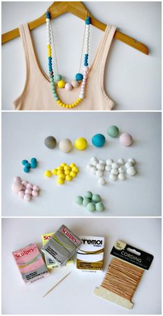 DIY Polymer Clay Bead Necklace - 105 Top DIY Necklace Ideas To Try Out This Weekend - DIY & Crafts