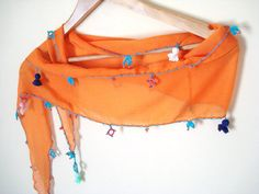 Orange Scarf with Embroidery Unique Gifts Orange Blue by bypasha, $18.00