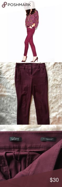 Loft Marisa skinny 6 burgundy pants Burgundy skinny pants in Marisa fit from Ann Taylor Loft. Size 6.   Skinny ankle pants are mid rise. Slim through a narrow leg and slight crop. Zip fly with hook and bar closure. Slash front pockets and back welt pockets. LOFT Pants Ankle & Cropped