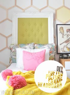 Headboard using large frame - could paint inside frame with chalkboard paint