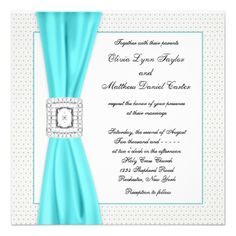 Teal Blue Diamond Ivory Wedding Invite