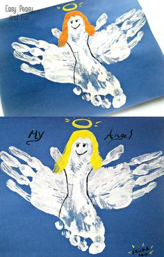 Handprint and Footprint Angel Craft - Easy Peasy and Fun Christmas Crafts For Kids To Make, Preschool Christmas, Christmas Activities, Crafts To Do, Kids Christmas, Holiday Crafts, Easy Crafts, Holiday Ideas, Christmas Cards