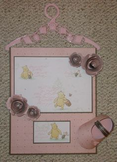 CTMH Artiste Cricut cartridge baby booties and 3D flowers combined with Winnie the Pooh paper and Le Belle Vie paper Ink and Rejoice: Baby Shower Blessings