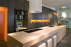 Line - contemporary - kitchen cabinets - other metro - by boform Contemporary Kitchen Island, Modern Kitchen Design, Home Decor Kitchen, Home Kitchens, Home Office, Glass Showcase, Stools For Kitchen Island, Kitchen Collection, Kitchen Cabinetry