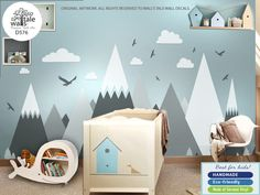 Large Mountains Wall Decal for Nursery, Kid room. High quality removable sticker - eagles, pine trees, clouds. Adventure decal d576 by decalbabywall on Etsy https://www.etsy.com/ca/listing/547056039/large-mountains-wall-decal-for-nursery