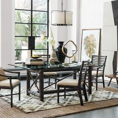 Drake Rectangular Dining Table William Sonoma 80L x 44W x 29.5H Rattan with High-gloss painted finish