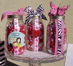 Mason jars filled with chocolate. Fun Valentine's Day teacher/friend gifts.
