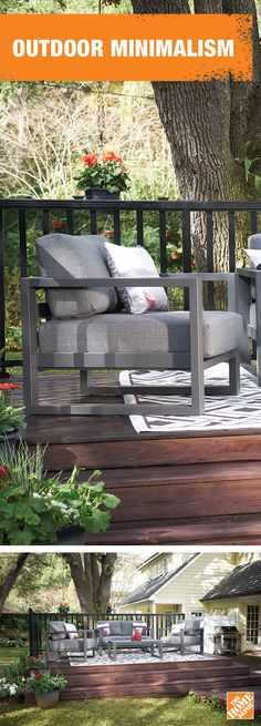 If you're looking to modernize your backyard space, opt for furniture with clean lines and a dark stained deck. Get inspired at homedepot.ca. #BackyardProud