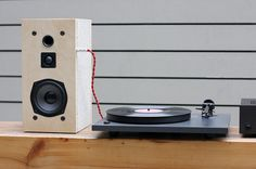 The common and cheap concrete cinder block is the focal component of this unusual build-your-own speaker kit by designer Daniel Ballou.