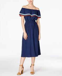 Maison Jules Fiesta Cotton Off-The-Shoulder Flounce Dress, Only at Macy's - Dresses - Women - Macy's