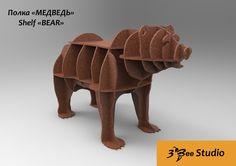 Bear shelf 3d puzzle plan vector file