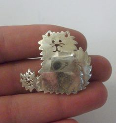 Vintage Taxco Sterling Silver Cat Brooch 6 Grams by onetime, $8.25