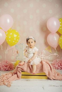 Number Photo Prop | First Birthday Photography Session | Yellow and Pink First Birthday | Pink Lemonade | CT First Birthday Photographer CT Smash Cake Photographer Elizabeth Frederick Photography