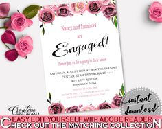 Engagement Invitation Bridal Shower Engagement Invitation Floral Bridal Shower Engagement Invitation Bridal Shower Floral Engagement BQ24C #bridalshower #bride-to-be #bridetobe