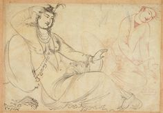 1600-10. Safavid. Unfinished drawing of  seated woman and a youth. Ink on paper, H: 12.9 W: 18.0 cm. Isfahan, Iran | S1986.309. Illustrates how pirahan is open all the way down to the navel.