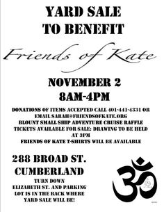 Yard Sale to Benefit Friends of Kate