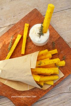 French fries and mayonnaise?  No, polenta sticks with blue cheese cream.