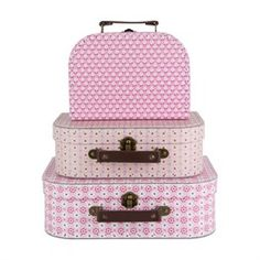Set of 3 Spring Retro Daisy Suitcases