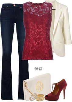 Fall/Winter 2014 LOVE the deep Burgundy/wine colored lace top. For Fall swap out the Ivory blacker for a gray or charcoal cardigan. Gray heels.